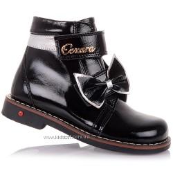 Лаковые демисезонные ботинки с бантиком для девочек 26-30 р-р 14.3.183
