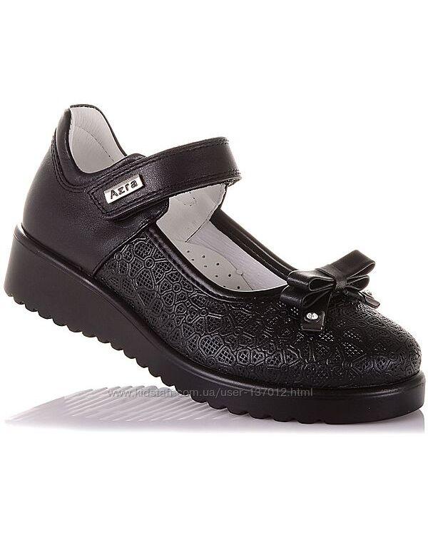 Школьные туфли из натуральной кожи на липучке для девочек 31-36 р-р 16.5.73