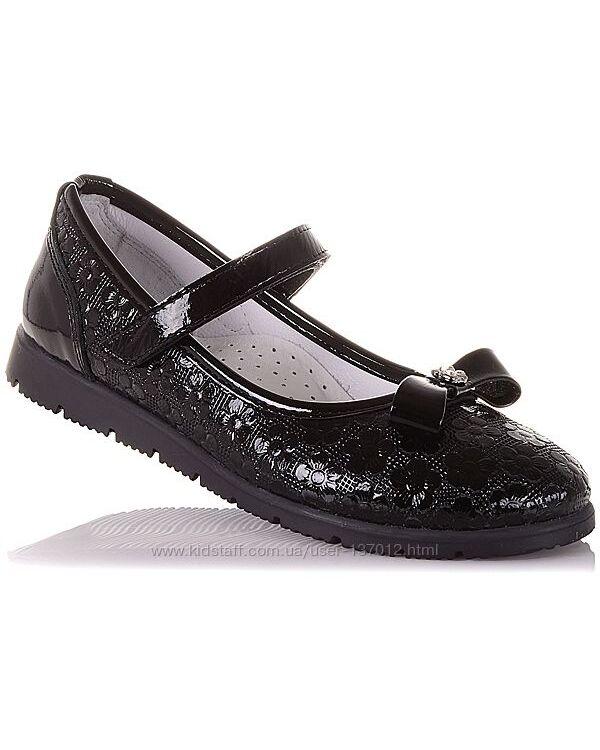 Школьные лаковые туфли на липучке для девочек 31-36 р-р 16.5.72