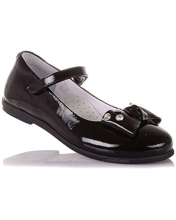 Школьные лаковые туфли на липучке для девочек 31-36 р-р 16.5.69