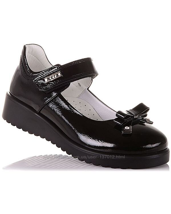 Школьные лаковые туфли на липучке для девочек 31-36 р-р 16.5.67