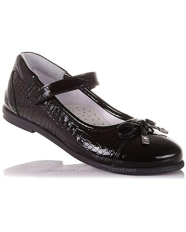 Школьные лаковые туфли на липучке для девочек 31-36 р-р 16.5.66