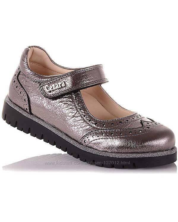 Туфли из натуральной кожи на липучке для девочек 31-36 р-р 14.5.114