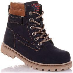 Демисезонные ботинки из нубука, на шнурках и молнии для мальчиков 37-40 р-р 11.3.462