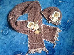 Тёплая шапочка и шарф с цветком