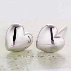 Посеребренные сердечки гвоздики, сережки пуссеты сердца покрытие серебро
