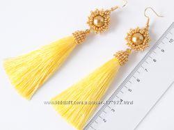 Длинные серьги кисточки Шовкові довгі сережки Long Tassel Earrings