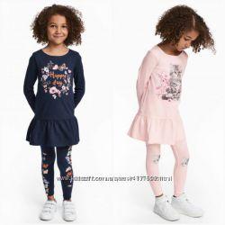 Комплект костюм платье туника лосины H&M 2-4 года синий и розовый