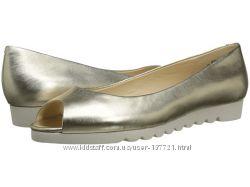 Стильные кожаные балетки Nine West  в нежно-золотом цвете
