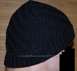шапка бини двухслойная отворот вязка