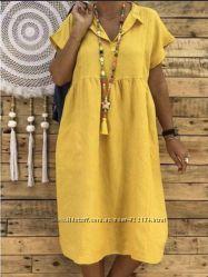 Льняное платье, пляжное, размеры и расцветки на выбор. ХС-10ХХЛ