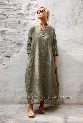 Платье из льна, платья лен большие размеры, бочка, свободный крой