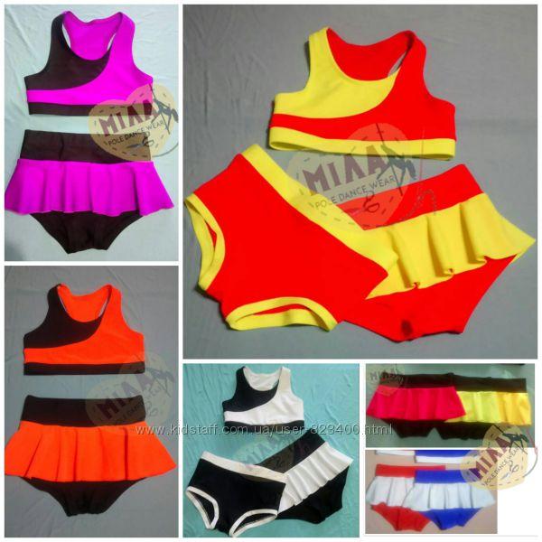Детский костюм топ, шорты или шорты с юбкой для Pole Dance
