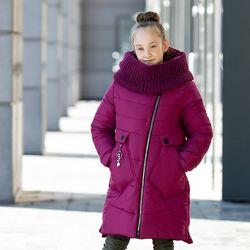 Теплое зимнее пальто для девочки Шарф