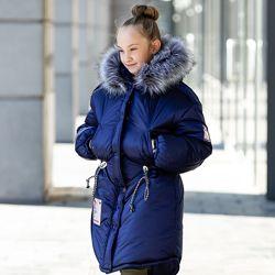 Теплая зимняя куртка для девочки Патрис на рост 128-152