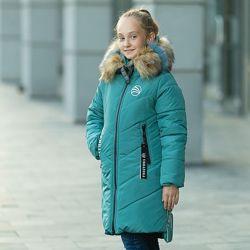 Зимняя куртка пальто для девочки Скарлет , рр 122-146
