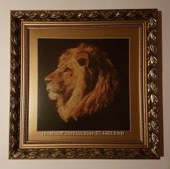 Шикарный подарок картина Лев вышита крестиком багет рамка паспарту