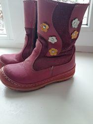 Турецкие полностью кожаные сапожки red kids для девочки бу 27р