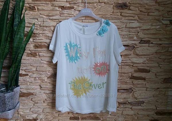 Нарядная футболка, блуза, туника Gaialuna, Италия, на 12-13 лет, размер 158