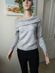 Серый укороченый свитер, кофта с объемным воротникомальпакашерсть
