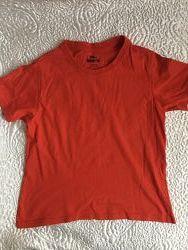 Красная хлопковая футболка, хорошее состояние, 9-10 лет