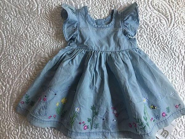Легкое платье Mothercare, 3 мес , красивая вышивка