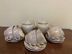 Набор сервиз СССР 6 персон чайник сахарница чашки блюдца