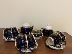 Набор сервиз СССР 6 персон чайник сахарница масленка чашки блюдца