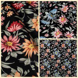 Ткань для декора цветы на темном фоне, 180 см, пошив и дизайн