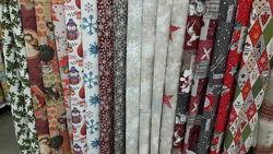 Новогодние ткани для скатертей, салфеток и декора
