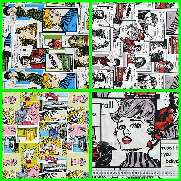 Декоративная ткань газетные комиксы, 3 цвета, пошив