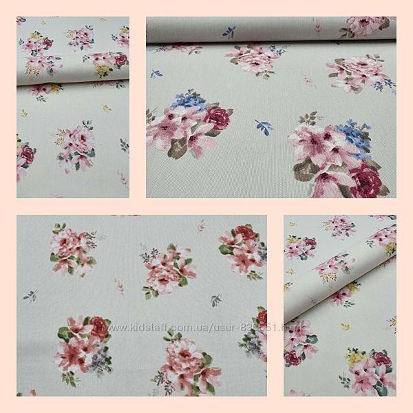 Ткань хлопковая с водооталкивающей тефлоновой пропиткой цветы букет, пошив