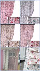 Ткань для штор и покрывал в стиле прованс мелкая роза, пошив и дизайн