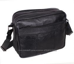 Кожаная мужская сумка SW2026 черная барсетка через плечо кожа 23х19х10см