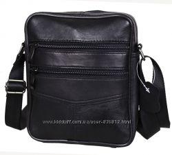 Кожаная мужская сумка SW276 черная барсетка через плечо кожа 21х18х6см