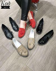 Туфли лоферы. Натуральная кожа, замша, лак
