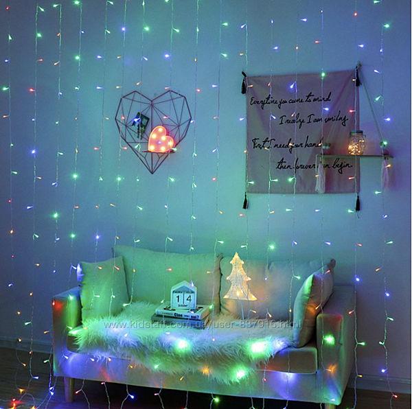 Светодиодная гирлянда штора LED 156 лампочек с коннектором 2х2м