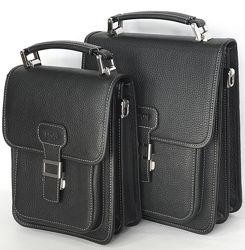 Кожаная сумка-барсетка Leon с ремнем через плечо. Два размера.