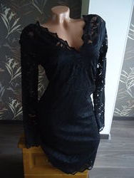Черное кружевное платье H&M, р. 40 евро - 46 наш