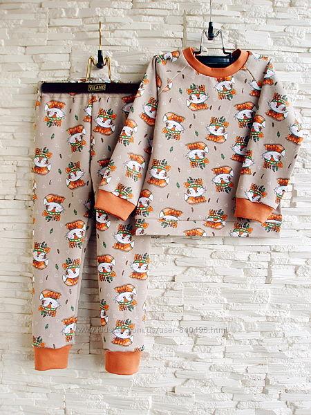 Детская теплая пижама на байке Лисички рост 80 - 146