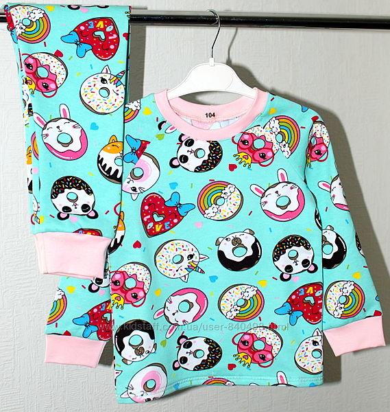 Детская теплая пижама с начесом Пончики рост 80 - 146