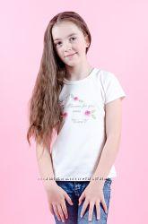 Футболка для девочки с вышивкой рост 98-134 интерлок