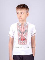 Вышиванка для мальчиков  с красной вышивкой рост 92-146