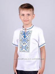 Вышиванка для мальчиков с синей вышивкой рост 92-146