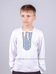 Вышиванка для мальчиков, белая рост 86-140
