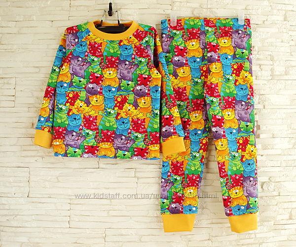Детская теплая пижама с начесом Коты рост 68 - 146