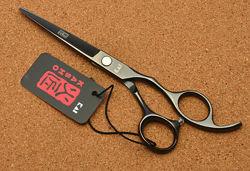 Ножницы 5. 5 парикмахерские KASHO прямые чёрный глянец