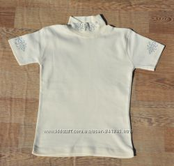 Нарядная футболка, гольф блуза для девочки в школу 7-10 лет