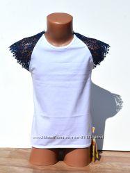 Нарядная футболка на девочку в школу 128-146