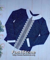 Школьная блуза для девочки длинный рукав 6-10 лет